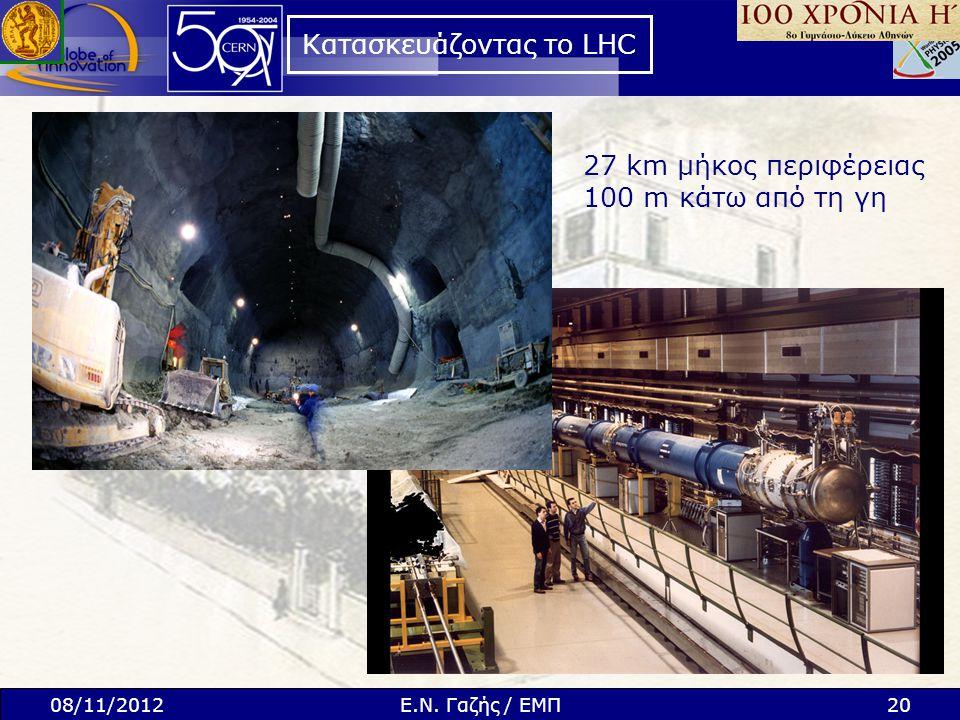 Κατασκευάζοντας το LHC 27 km μήκος περιφέρειας 100 m κάτω από τη γη 08/11/201220Ε.Ν. Γαζής / ΕΜΠ