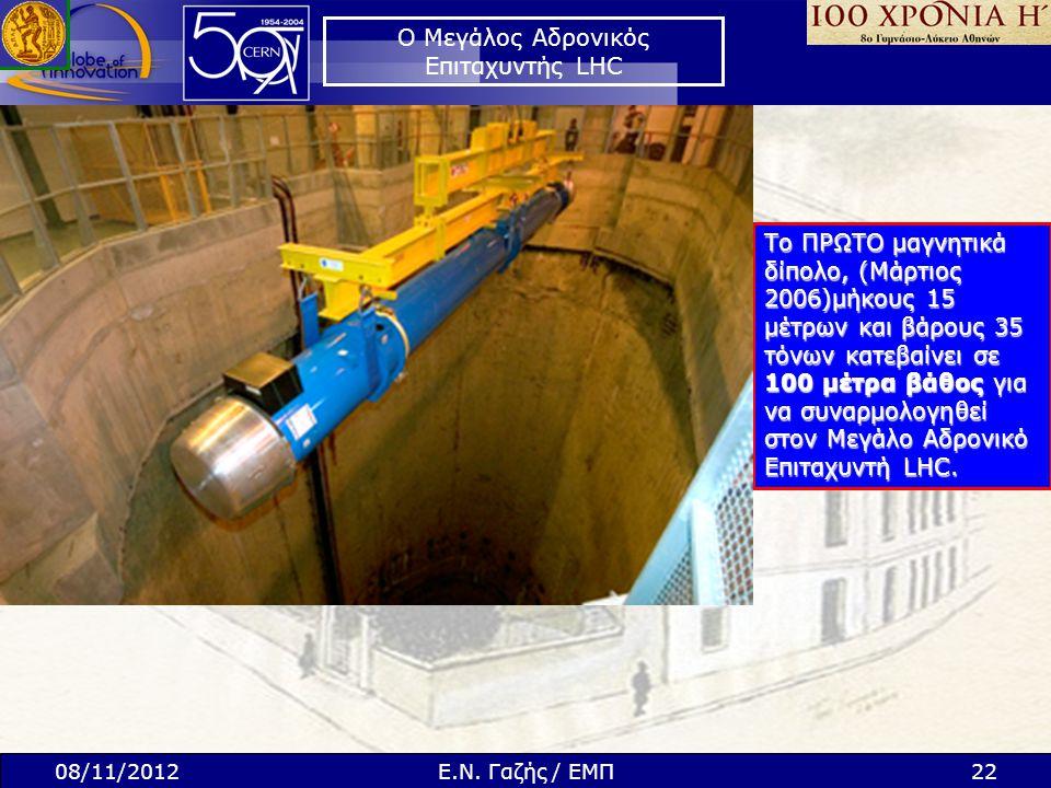 Ο Μεγάλος Αδρονικός Επιταχυντής LHC Το ΠΡΩΤΟ μαγνητικά δίπολο, (Μάρτιος 2006)μήκους 15 μέτρων και βάρους 35 τόνων κατεβαίνει σε 100 μέτρα βάθος για να