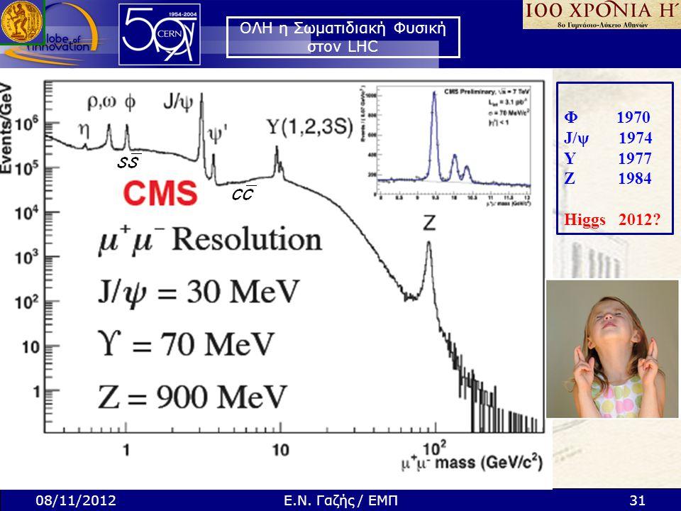 ΟΛΗ η Σωματιδιακή Φυσική στον LHC Φ 1970 J/ψ 1974 Y 1977 Ζ 1984 Higgs 2012? 08/11/201231Ε.Ν. Γαζής / ΕΜΠ