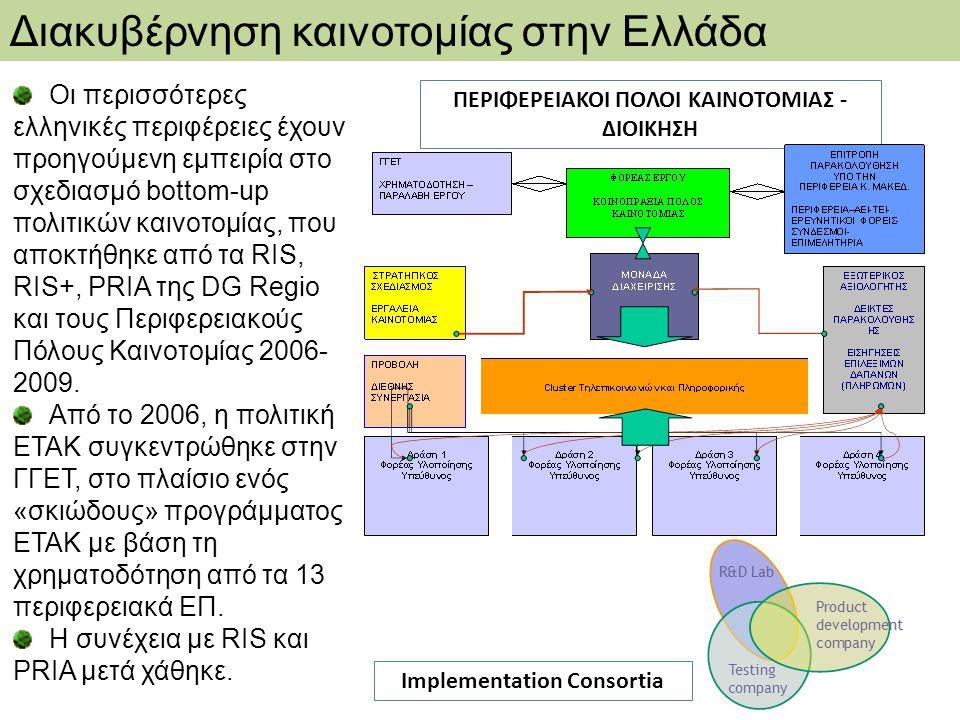 Οι περισσότερες ελληνικές περιφέρειες έχουν προηγούμενη εμπειρία στο σχεδιασμό bottom-up πολιτικών καινοτομίας, που αποκτήθηκε από τα RIS, RIS+, PRIA της DG Regio και τους Περιφερειακούς Πόλους Καινοτομίας 2006- 2009.