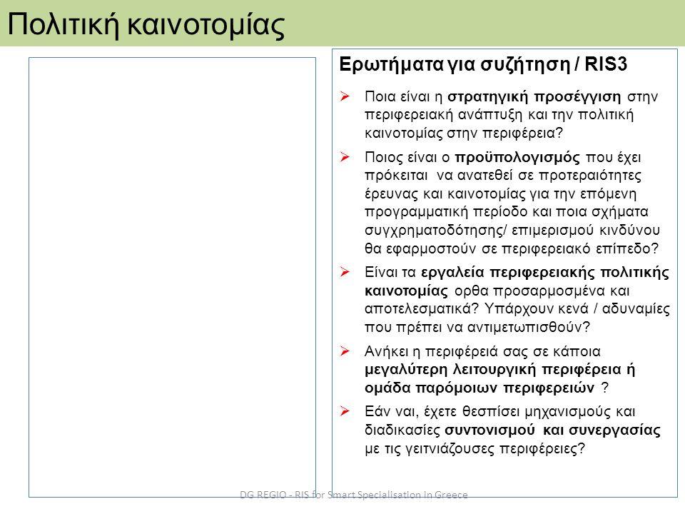 DG REGIO - RIS for Smart Specialisation in Greece Πολιτική καινοτομίας Ερωτήματα για συζήτηση / RIS3  Ποια είναι η στρατηγική προσέγγιση στην περιφερειακή ανάπτυξη και την πολιτική καινοτομίας στην περιφέρεια.