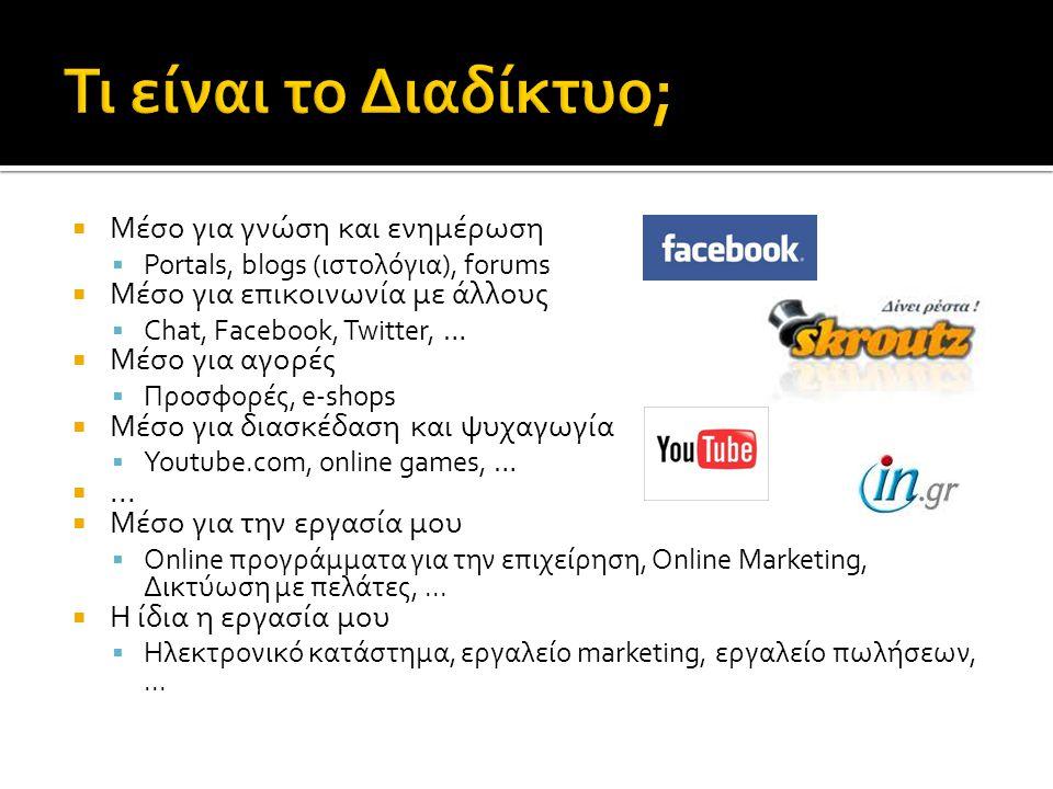 Μέσο για γνώση και ενημέρωση  Portals, blogs (ιστολόγια), forums  Μέσο για επικοινωνία με άλλους  Chat, Facebook, Twitter, …  Μέσο για αγορές 