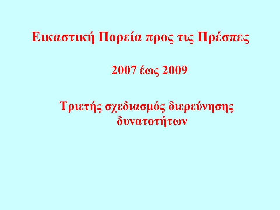 Εικαστική Πορεία προς τις Πρέσπες 2007 έως 2009 Τριετής σχεδιασμός διερεύνησης δυνατοτήτων