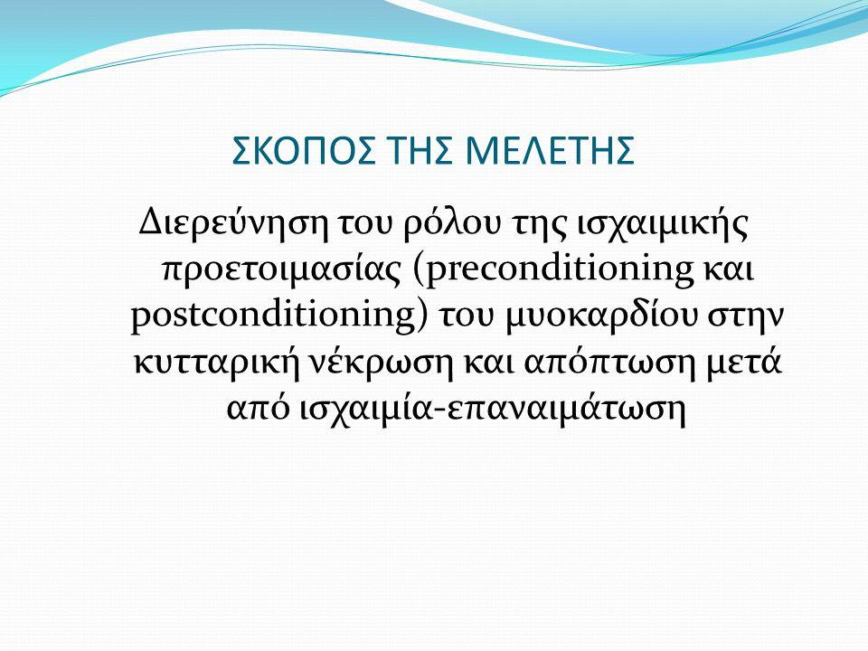 ΣΚΟΠΟΣ ΤΗΣ ΜΕΛΕΤΗΣ Διερεύνηση του ρόλου της ισχαιμικής προετοιμασίας (preconditioning και postconditioning) του μυοκαρδίου στην κυτταρική νέκρωση και