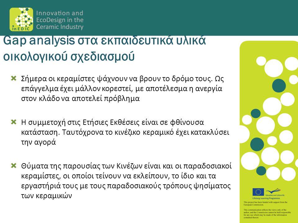 Gap analysis στα εκπαιδευτικά υλικά οικολογικού σχεδιασμού  Σήμερα οι κεραμίστες ψάχνουν να βρουν το δρόμο τους. Ως επάγγελμα έχει μάλλον κορεστεί, μ