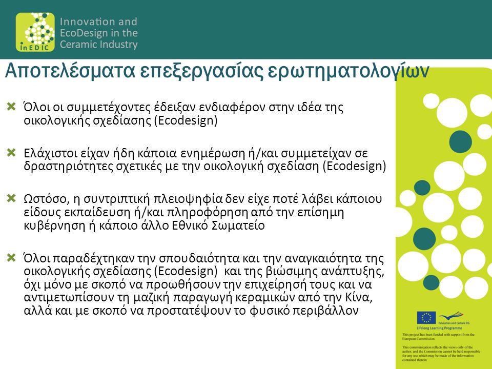  Όλοι οι συμμετέχοντες έδειξαν ενδιαφέρον στην ιδέα της οικολογικής σχεδίασης (Ecodesign)  Ελάχιστοι είχαν ήδη κάποια ενημέρωση ή/και συμμετείχαν σε