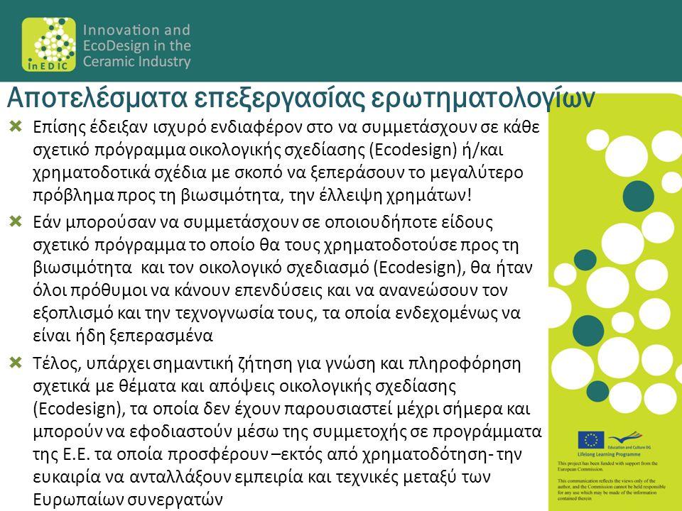  Επίσης έδειξαν ισχυρό ενδιαφέρον στο να συμμετάσχουν σε κάθε σχετικό πρόγραμμα οικολογικής σχεδίασης (Ecodesign) ή/και χρηματοδοτικά σχέδια με σκοπό