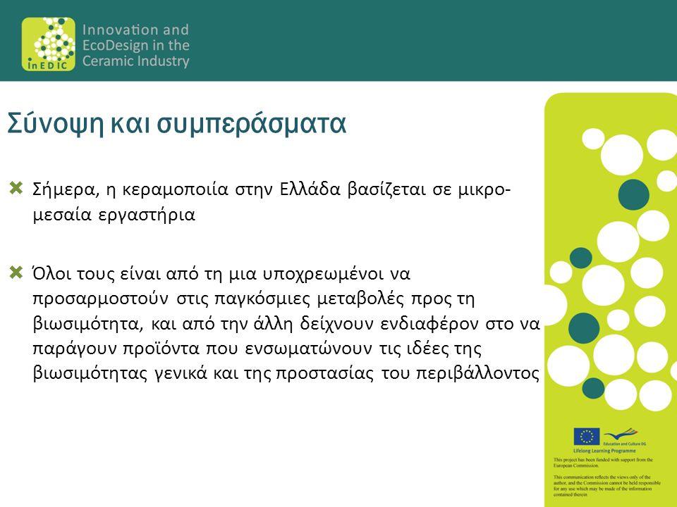  Σήμερα, η κεραμοποιία στην Ελλάδα βασίζεται σε μικρο- μεσαία εργαστήρια  Όλοι τους είναι από τη μια υποχρεωμένοι να προσαρμοστούν στις παγκόσμιες μ
