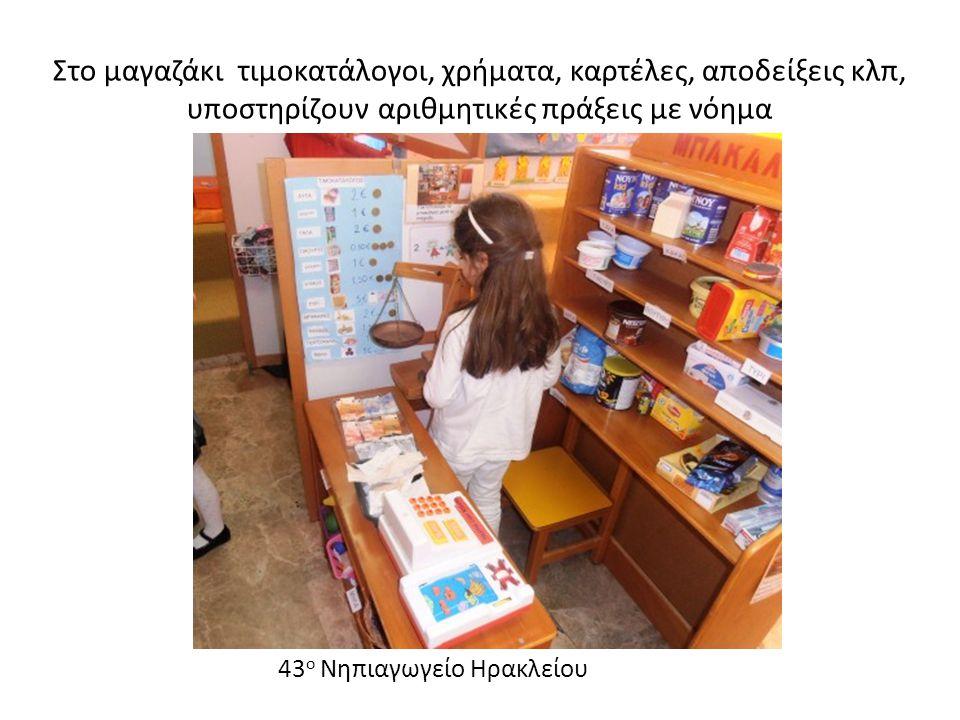 Στο μαγαζάκι τιμοκατάλογοι, χρήματα, καρτέλες, αποδείξεις κλπ, υποστηρίζουν αριθμητικές πράξεις με νόημα 43 ο Νηπιαγωγείο Ηρακλείου