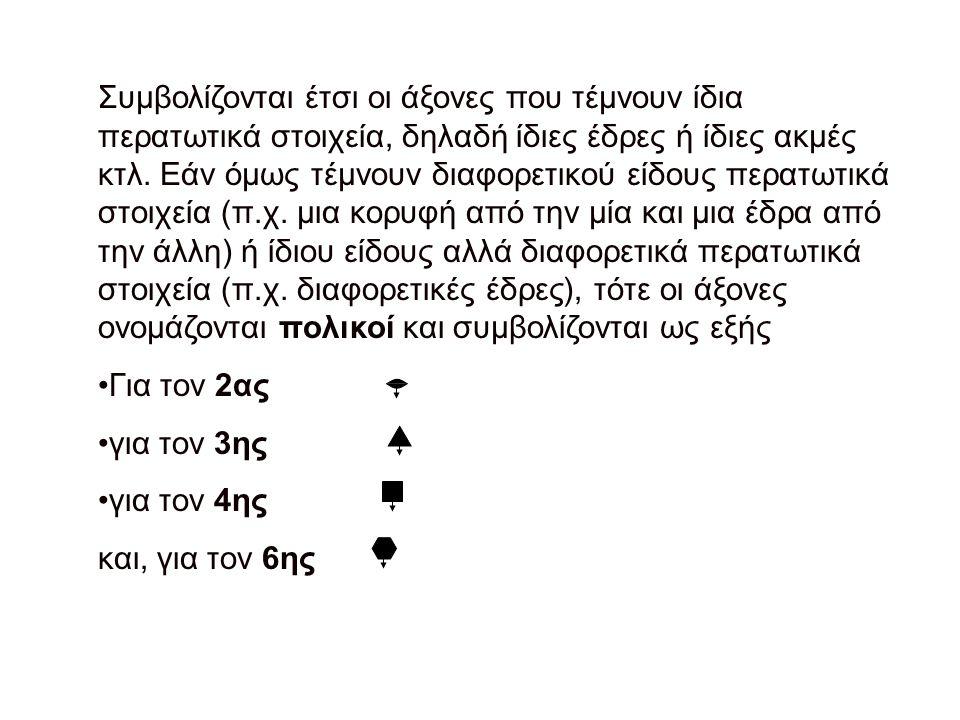 Συμβολίζονται έτσι οι άξονες που τέμνουν ίδια περατωτικά στοιχεία, δηλαδή ίδιες έδρες ή ίδιες ακμές κτλ.