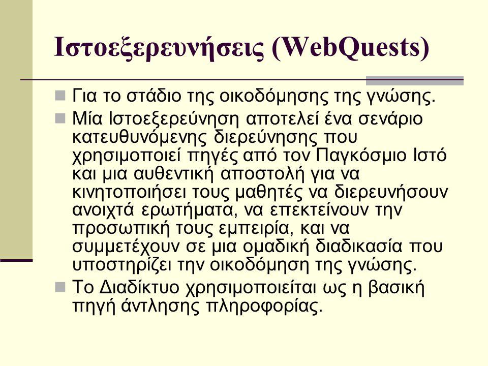 Ιστοεξερευνήσεις (WebQuests) Για το στάδιο της οικοδόμησης της γνώσης.
