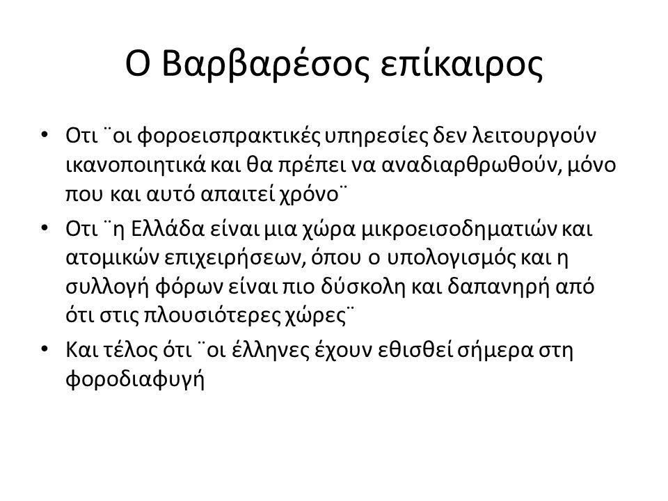 Ο Βαρβαρέσος επίκαιρος Οτι ¨οι φοροεισπρακτικές υπηρεσίες δεν λειτουργούν ικανοποιητικά και θα πρέπει να αναδιαρθρωθούν, μόνο που και αυτό απαιτεί χρόνο¨ Οτι ¨η Ελλάδα είναι μια χώρα μικροεισοδηματιών και ατομικών επιχειρήσεων, όπου ο υπολογισμός και η συλλογή φόρων είναι πιο δύσκολη και δαπανηρή από ότι στις πλουσιότερες χώρες¨ Και τέλος ότι ¨οι έλληνες έχουν εθισθεί σήμερα στη φοροδιαφυγή