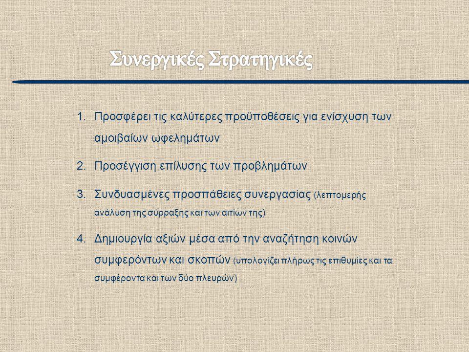 1.Προσφέρει τις καλύτερες προϋποθέσεις για ενίσχυση των αμοιβαίων ωφελημάτων 2.Προσέγγιση επίλυσης των προβλημάτων 3.Συνδυασμένες προσπάθειες συνεργασ