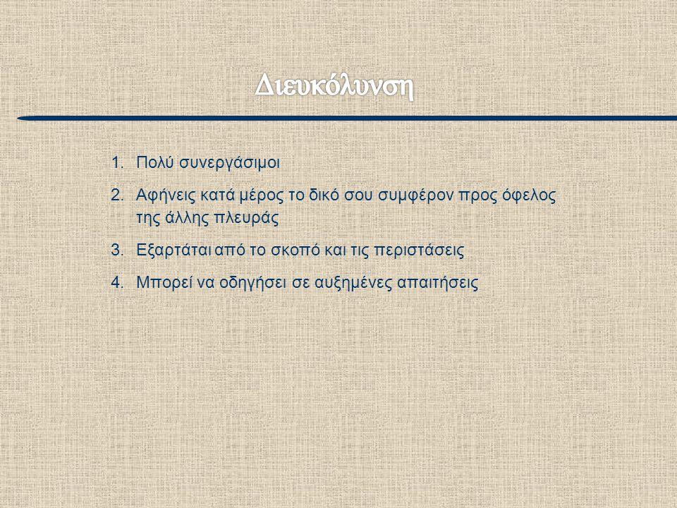 1.Πολύ συνεργάσιμοι 2.Αφήνεις κατά μέρος το δικό σου συμφέρον προς όφελος της άλλης πλευράς 3.Εξαρτάται από το σκοπό και τις περιστάσεις 4.Μπορεί να ο