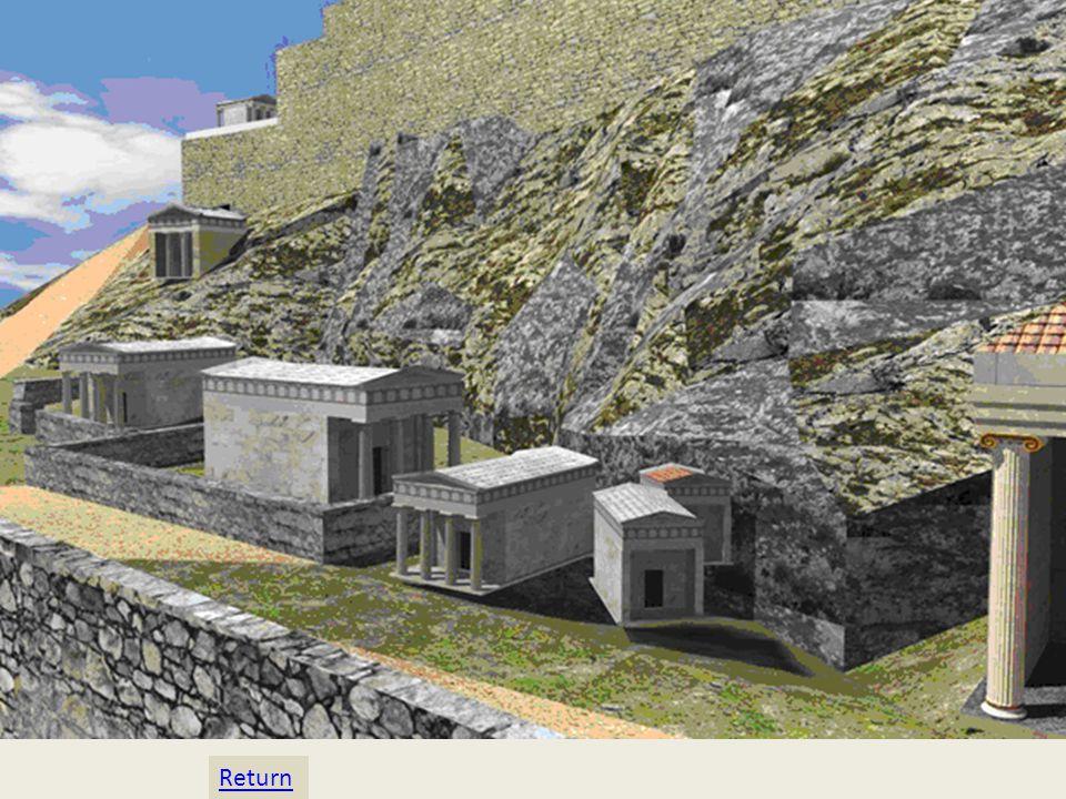 Τέλος, στα νοτιοδυτικά της Ακρόπολης, δίπλα από το Ασκληπιείο, κατασκευάστηκε πλήθος μικρών ναών και ιερών, μεταξύ των οποίων τα παρακάτω.