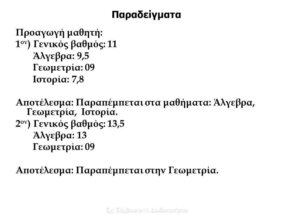 Σχ. Σύμβουλοι Ν. Δωδεκανήσου Παραδείγματα Προαγωγή μαθητή: 1 ον ) Γενικός βαθμός: 11 Άλγεβρα: 9,5 Γεωμετρία: 09 Ιστορία: 7,8 Αποτέλεσμα: Παραπέμπεται