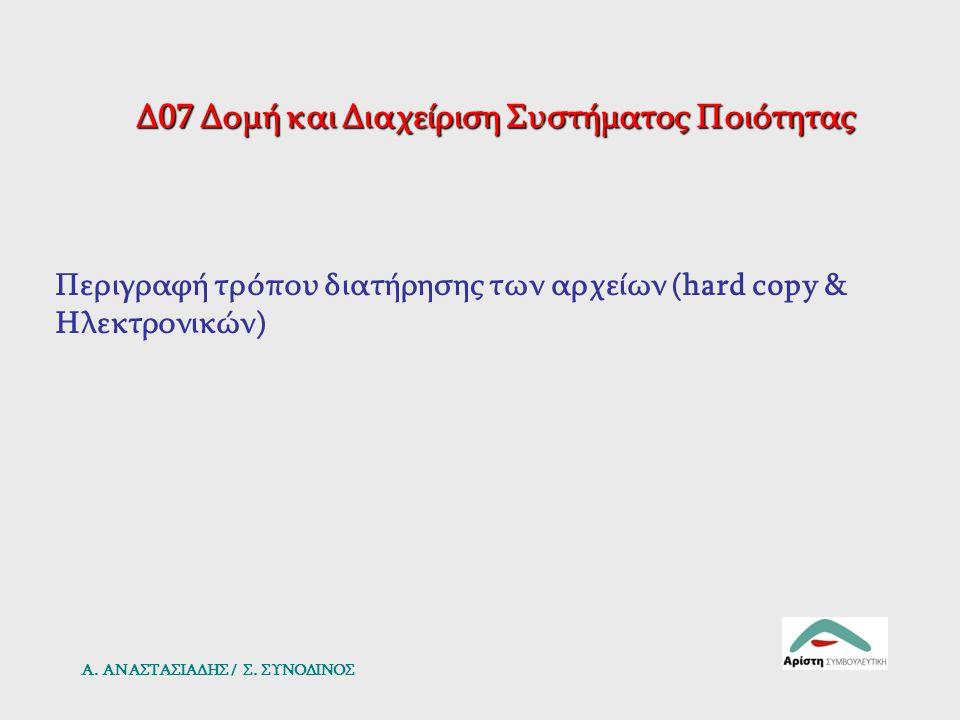 Δ07 Δομή και Διαχείριση Συστήματος Ποιότητας Περιγραφή τρόπου διατήρησης των αρχείων (hard copy & Ηλεκτρονικών) Α. ΑΝΑΣΤΑΣΙΑΔΗΣ / Σ. ΣΥΝΟΔΙΝΟΣ