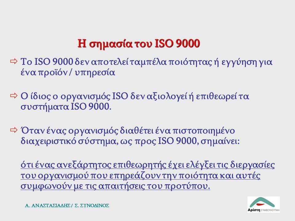 Η σημασία του ISO 9000  Το ISO 9000 δεν αποτελεί ταμπέλα ποιότητας ή εγγύηση για ένα προϊόν / υπηρεσία  Ο ίδιος ο οργανισμός ISO δεν αξιολογεί ή επι