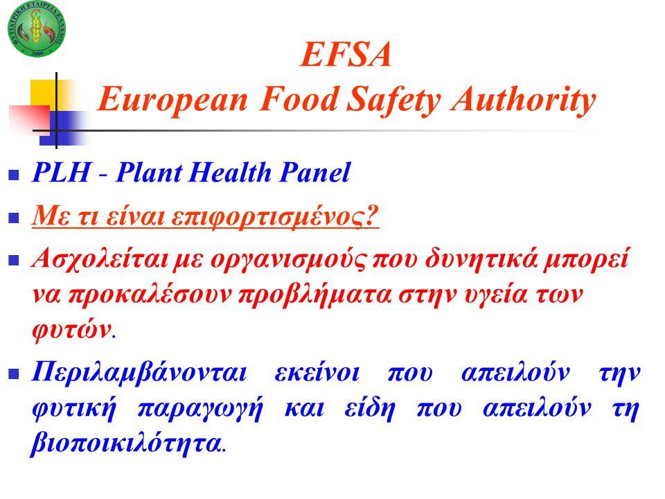 EFSA European Food Safety Authority PLH - Plant Health Panel Με τι είναι επιφορτισμένος.