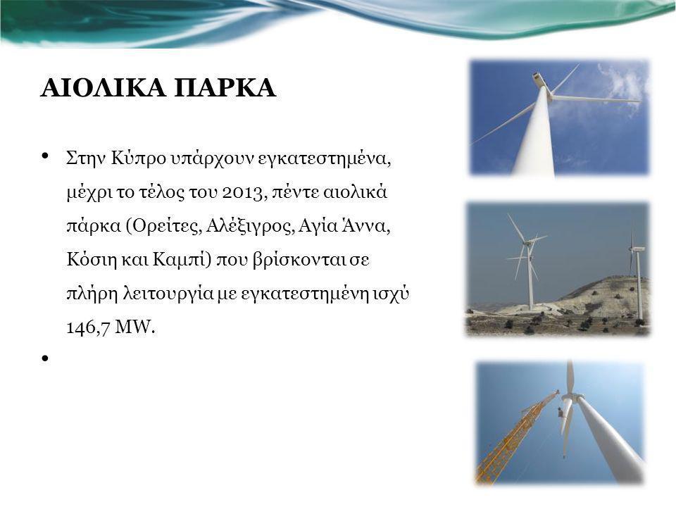 ΑΙΟΛΙΚΑ ΠΑΡΚΑ Στην Κύπρο υπάρχουν εγκατεστημένα, μέχρι το τέλος του 2013, πέντε αιολικά πάρκα (Ορείτες, Αλέξιγρος, Αγία Άννα, Κόσιη και Καμπί) που βρίσκονται σε πλήρη λειτουργία με εγκατεστημένη ισχύ 146,7 MW.