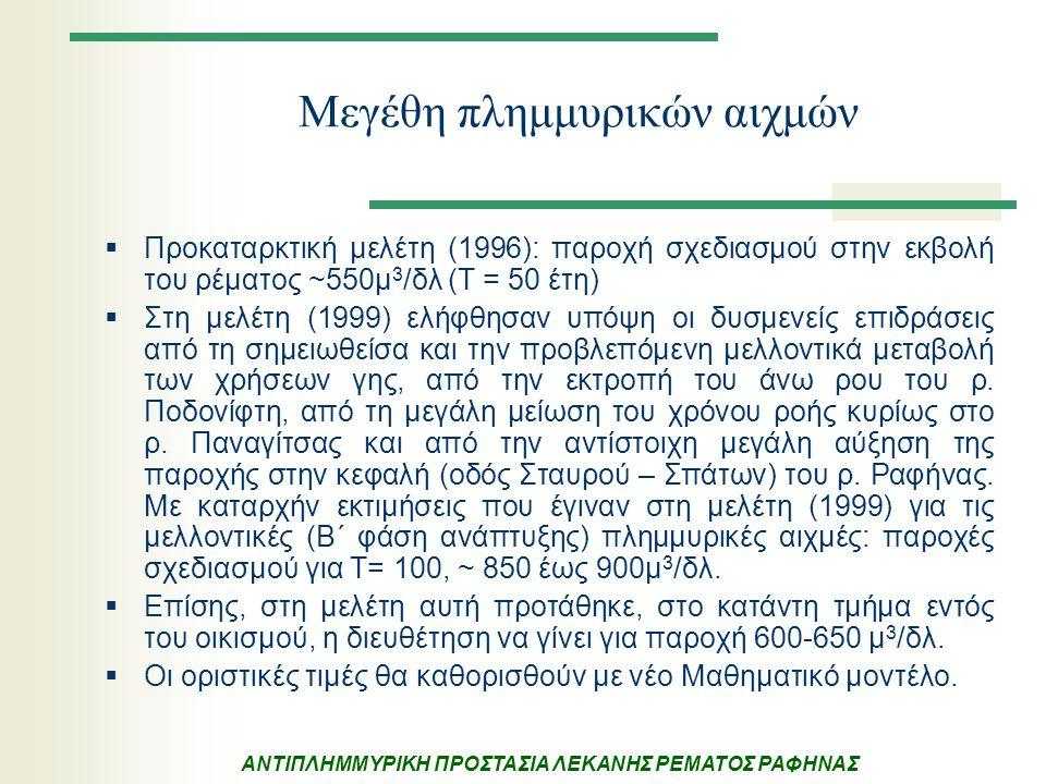 ΑΝΤΙΠΛΗΜΜΥΡΙΚΗ ΠΡΟΣΤΑΣΙΑ ΛΕΚΑΝΗΣ ΡΕΜΑΤΟΣ ΡΑΦΗΝΑΣ Μεγέθη πλημμυρικών αιχμών  Προκαταρκτική μελέτη (1996): παροχή σχεδιασμού στην εκβολή του ρέματος ~5