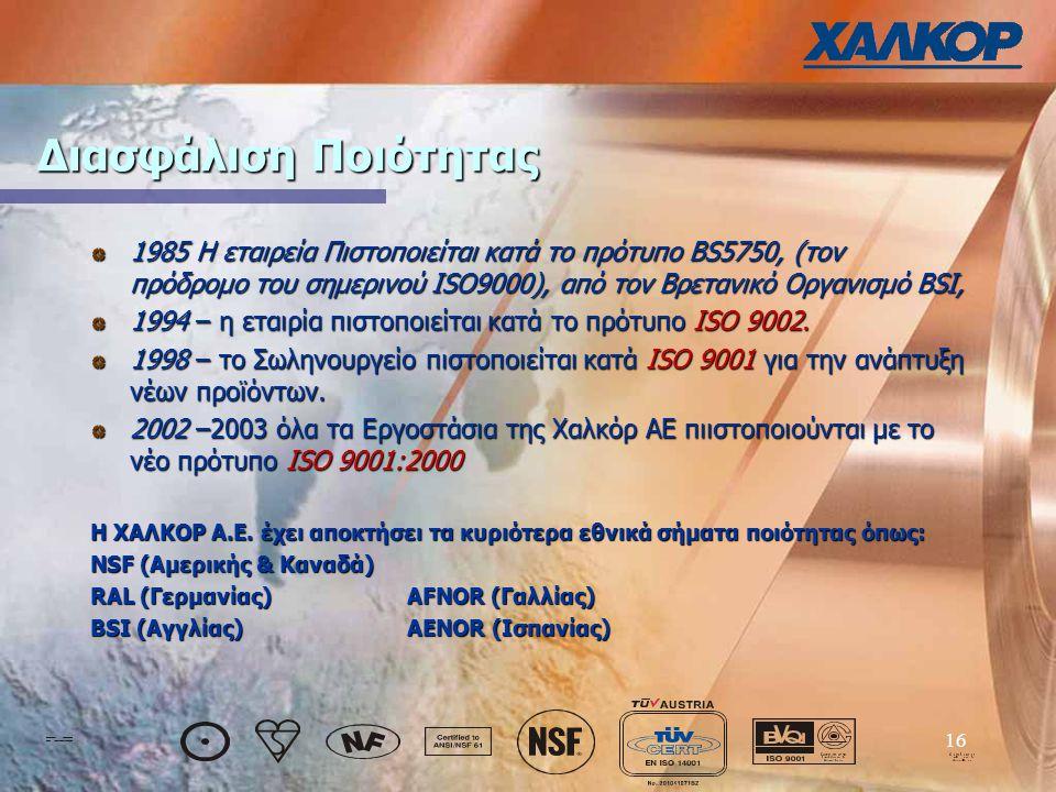 16 Διασφάλιση Ποιότητας 1985 Η εταιρεία Πιστοποιείται κατά το πρότυπο BS5750, (τον πρόδρομο του σημερινού ISO9000), από τον Βρετανικό Οργανισμό BSI, 1994 – η εταιρία πιστοποιείται κατά το πρότυπο ISO 9002.