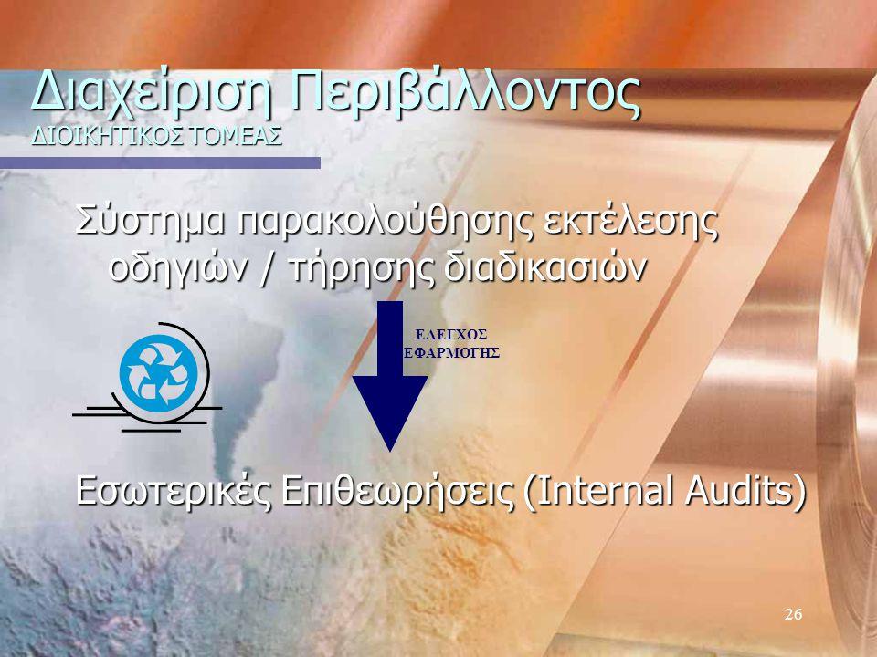 26 Διαχείριση Περιβάλλοντος ΔΙΟΙΚΗΤΙΚΟΣ ΤΟΜΕΑΣ Σύστημα παρακολούθησης εκτέλεσης οδηγιών / τήρησης διαδικασιών Εσωτερικές Επιθεωρήσεις (Internal Audits) ΕΛΕΓΧΟΣ ΕΦΑΡΜΟΓΗΣ