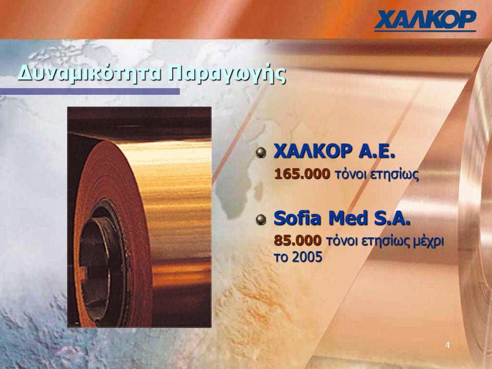 4 Δυναμικότητα Παραγωγής ΧΑΛΚΟΡ Α.Ε. 165.000 τόνοι ετησίως Sofia Med S.A.