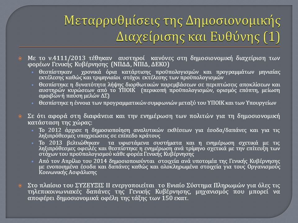  Με το ν.4111/2013 τέθηκαν αυστηροί κανόνες στη δημοσιονομική διαχείριση των φορέων Γενικής Κυβέρνησης ( ΝΠΔΔ, ΝΠΙΔ, ΔΕΚΟ ) Θεσπίστηκαν χρονικά όρια