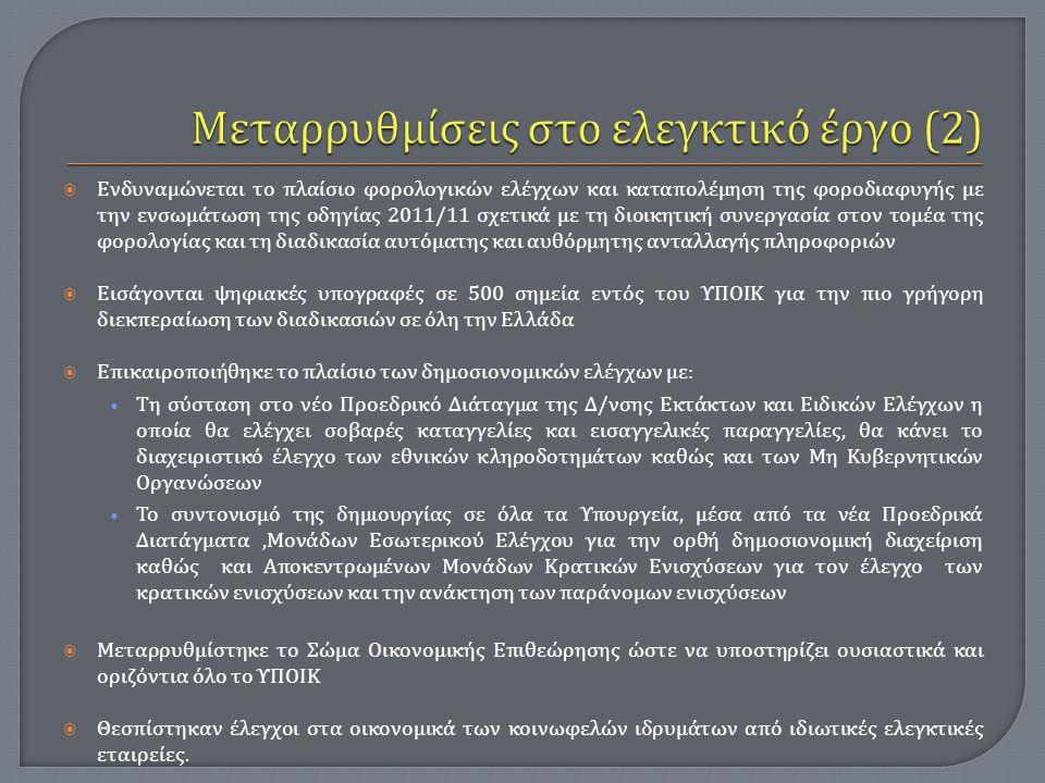  Ενδυναμώνεται το πλαίσιο φορολογικών ελέγχων και καταπολέμηση της φοροδιαφυγής με την ενσωμάτωση της οδηγίας 2011/11 σχετικά με τη διοικητική συνεργ