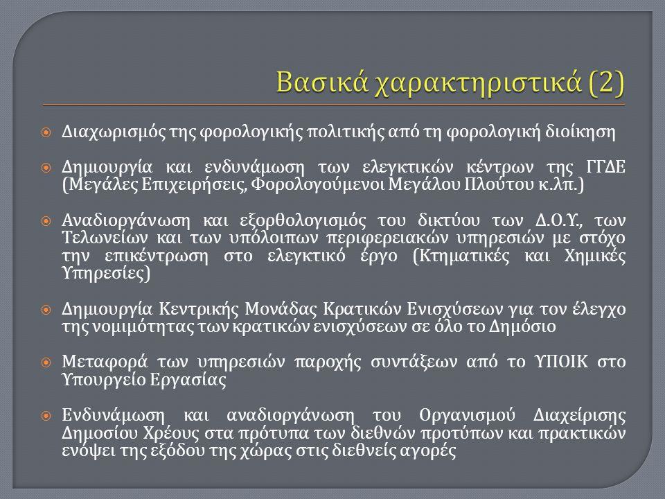  Διαχωρισμός της φορολογικής πολιτικής από τη φορολογική διοίκηση  Δημιουργία και ενδυνάμωση των ελεγκτικών κέντρων της ΓΓΔΕ ( Μεγάλες Επιχειρήσεις,