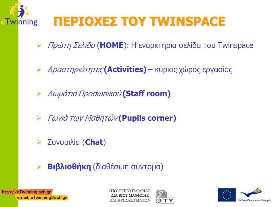 ΠΕΡΙΟΧΕΣ ΤΟΥ TWINSPACE  Πρώτη Σελίδα (HOME): Η εναρκτήρια σελίδα του Twinspace  Δραστηριότητες (Activities) – κύριος χώρος εργασίας  Δωμάτιο Προσωπ