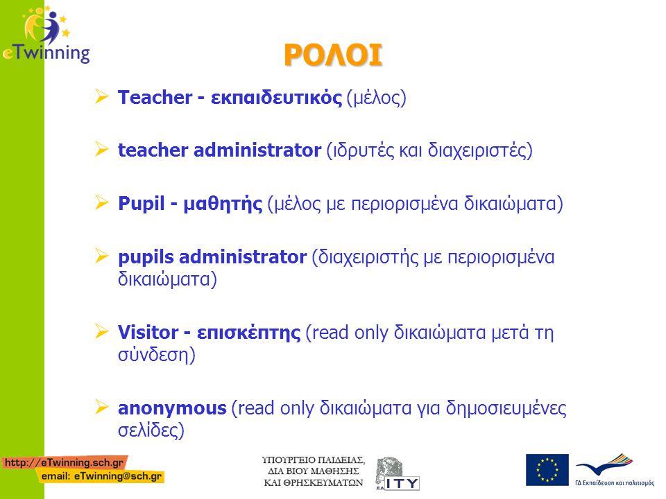 ΡΟΛΟΙ TT eacher - εκπαιδευτικός (μέλος) tt eacher administrator (ιδρυτές και διαχειριστές) PP upil - μαθητής (μέλος με περιορισμένα δικαιώματα)