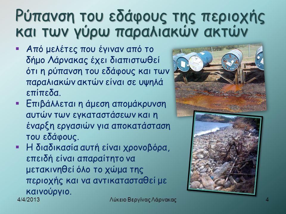 Ρύπανση του εδάφους της περιοχής και των γύρω παραλιακών ακτών  Από μελέτες που έγιναν από το δήμο Λάρνακας έχει διαπιστωθεί ότι η ρύπανση του εδάφου