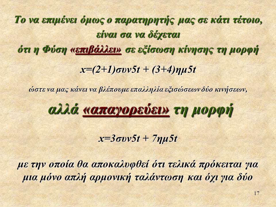 17 Το να επιμένει όμως ο παρατηρητής μας σε κάτι τέτοιο, είναι σα να δέχεται ότι η Φύση «επιβάλλει» σε εξίσωση κίνησης τη μορφή x=(2+1)συν5t + (3+4)ημ5t ώστε να μας κάνει να βλέπουμε επαλληλία εξισώσεων δύο κινήσεων, αλλά «απαγορεύει» τη μορφή αλλά «απαγορεύει» τη μορφή x=3συν5t + 7ημ5t με την οποία θα αποκαλυφθεί ότι τελικά πρόκειται για μια μόνο απλή αρμονική ταλάντωση και όχι για δύο