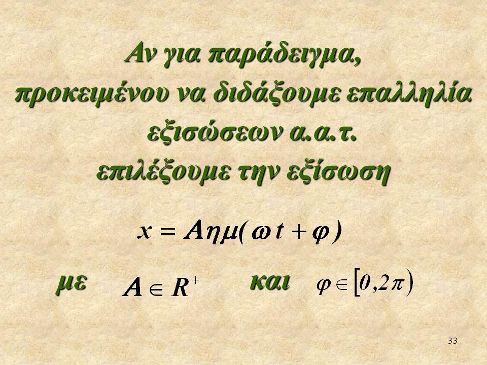 33 Αν για παράδειγμα, προκειμένου να διδάξουμε επαλληλία εξισώσεων α.α.τ. επιλέξουμε την εξίσωση με και με και