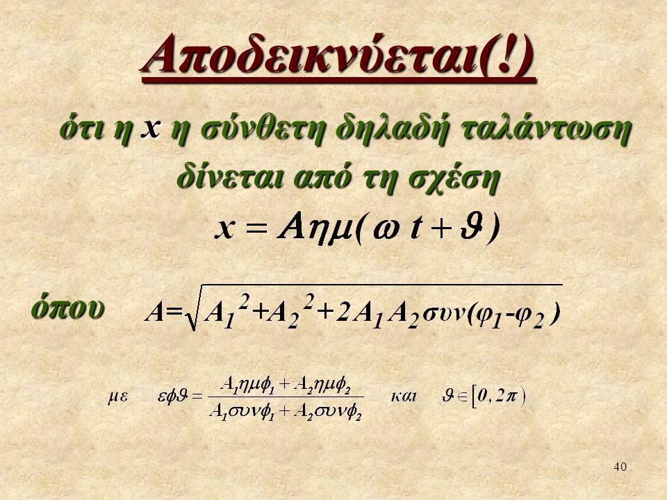 40 Αποδεικνύεται(!) ότι η x η σύνθετη δηλαδή ταλάντωση δίνεται από τη σχέση ότι η x η σύνθετη δηλαδή ταλάντωση δίνεται από τη σχέσηόπου
