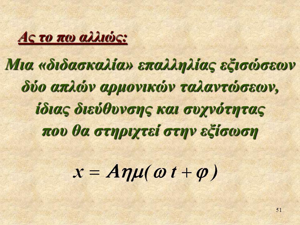 51 Ας το πω αλλιώς: Μια «διδασκαλία» επαλληλίας εξισώσεων δύο απλών αρμονικών ταλαντώσεων, ίδιας διεύθυνσης και συχνότητας που θα στηριχτεί στην εξίσω