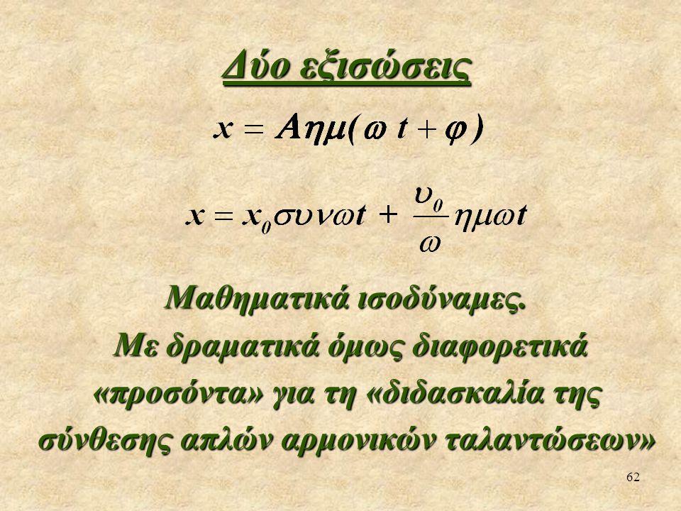 62 Δύο εξισώσεις Μαθηματικά ισοδύναμες. Με δραματικά όμως διαφορετικά «προσόντα» για τη «διδασκαλία της σύνθεσης απλών αρμονικών ταλαντώσεων» Με δραμα
