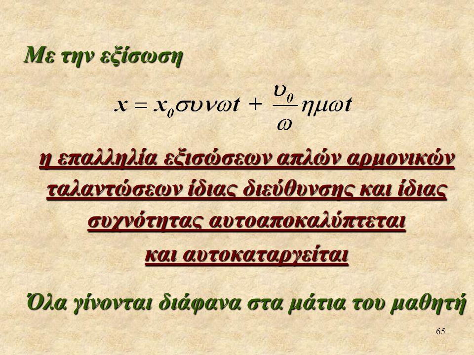 65 Με την εξίσωση η επαλληλία εξισώσεων απλών αρμονικών ταλαντώσεων ίδιας διεύθυνσης και ίδιας συχνότητας αυτοαποκαλύπτεται και αυτοκαταργείται Όλα γίνονται διάφανα στα μάτια του μαθητή