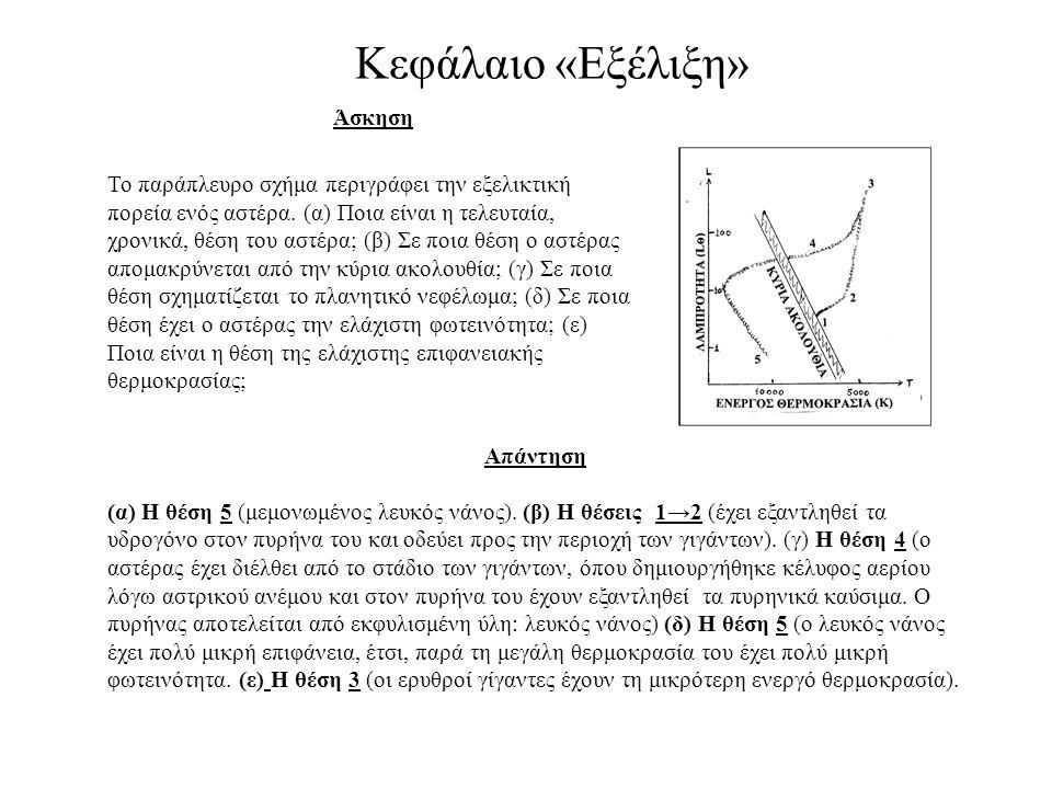 Κεφάλαιο «Εξέλιξη» Άσκηση Το παράπλευρο σχήμα περιγράφει την εξελικτική πορεία ενός αστέρα. (α) Ποια είναι η τελευταία, χρονικά, θέση του αστέρα; (β)