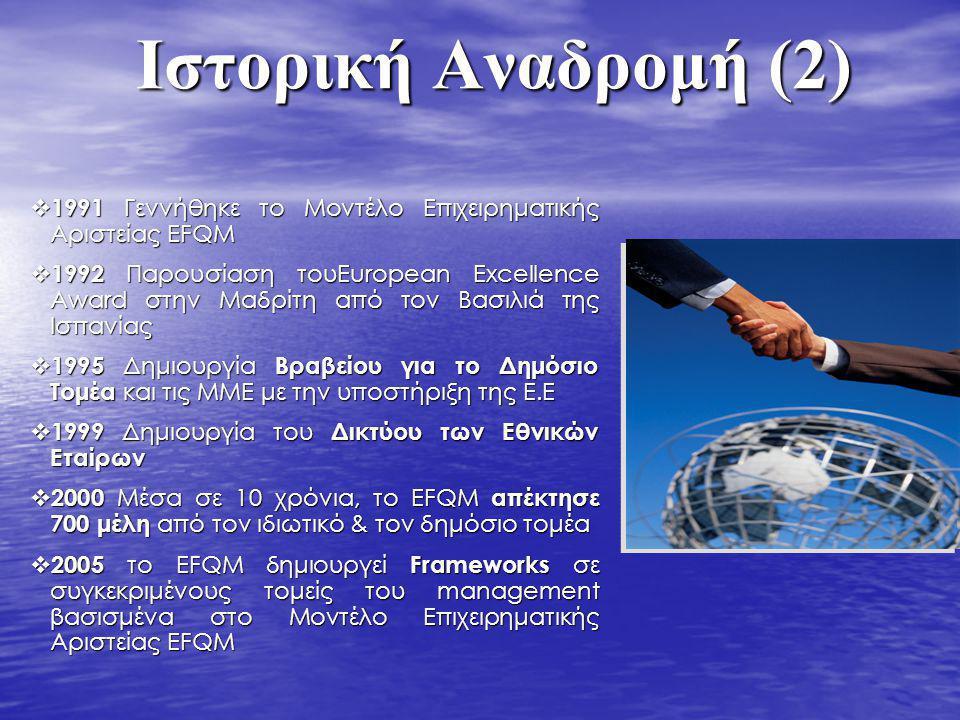  1991 Γεννήθηκε το Μοντέλο Επιχειρηματικής Αριστείας EFQM  1992 Παρουσίαση τουEuropean Excellence Award στην Μαδρίτη από τον Βασιλιά της Ισπανίας 