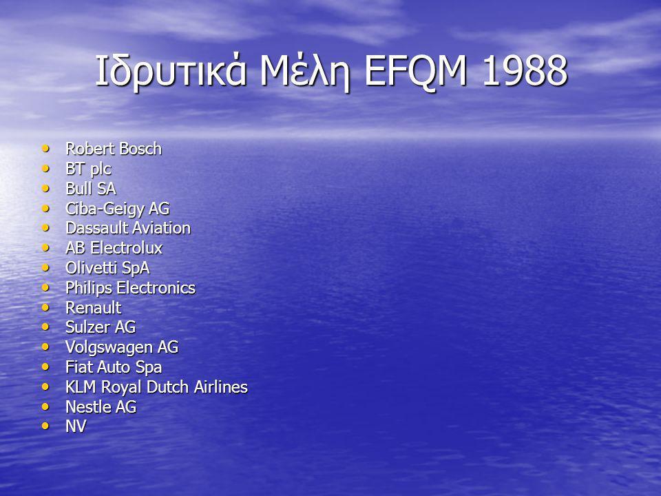 Ιδρυτικά Μέλη EFQM 1988 Robert Bosch Robert Bosch BT plc BT plc Bull SA Bull SA Ciba-Geigy AG Ciba-Geigy AG Dassault Aviation Dassault Aviation AB Ele
