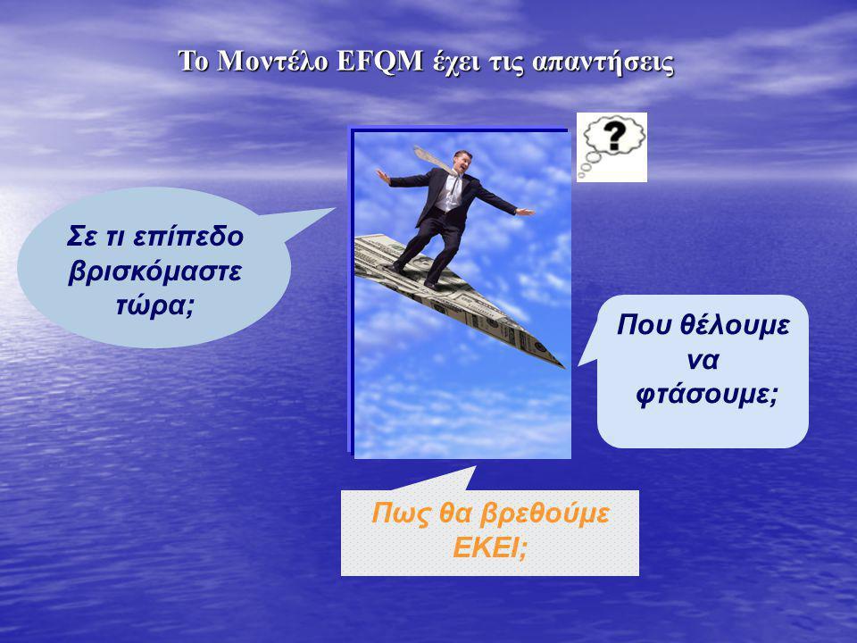 Σε τι επίπεδο βρισκόμαστε τώρα; Το Μοντέλο EFQM έχει τις απαντήσεις Που θέλουμε να φτάσουμε; Πως θα βρεθούμε ΕΚΕΙ;