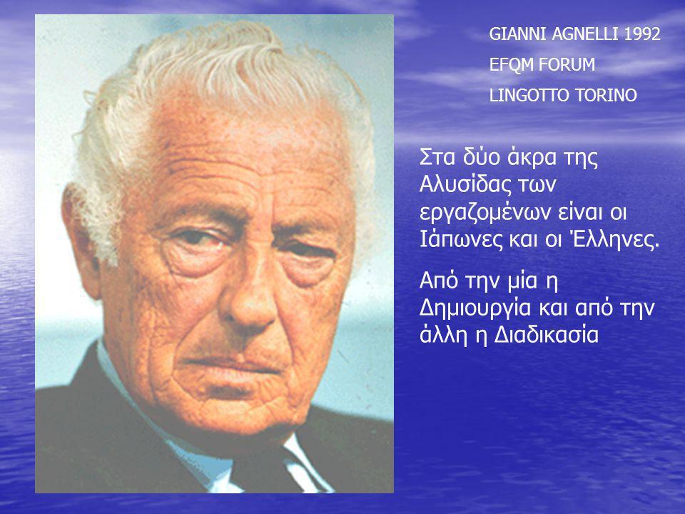 GIANNI AGNELLI 1992 EFQM FORUM LINGOTTO TORINO Στα δύο άκρα της Αλυσίδας των εργαζομένων είναι οι Ιάπωνες και οι Έλληνες. Από την μία η Δημιουργία και