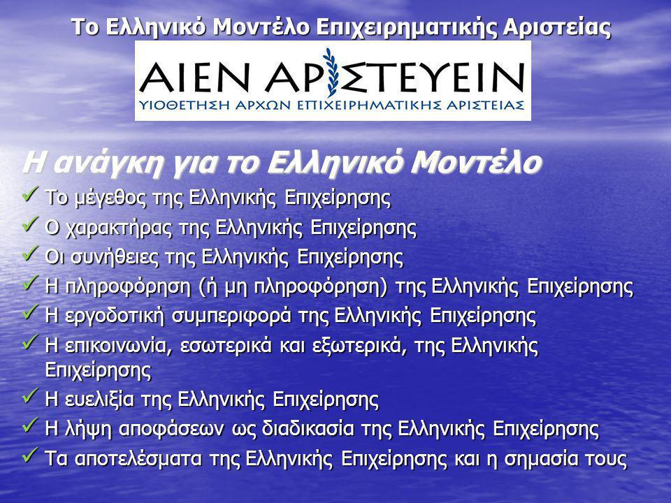 Το Ελληνικό Μοντέλο Επιχειρηματικής Αριστείας Η ανάγκη για το Ελληνικό Μοντέλο Το μέγεθος της Ελληνικής Επιχείρησης Το μέγεθος της Ελληνικής Επιχείρησ
