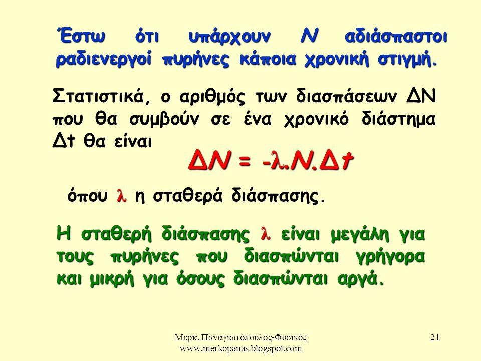 Μερκ. Παναγιωτόπουλος-Φυσικός www.merkopanas.blogspot.com 21 Έστω ότι υπάρχουν Ν αδιάσπαστοι ραδιενεργοί πυρήνες κάποια χρονική στιγμή. Στατιστικά, ο