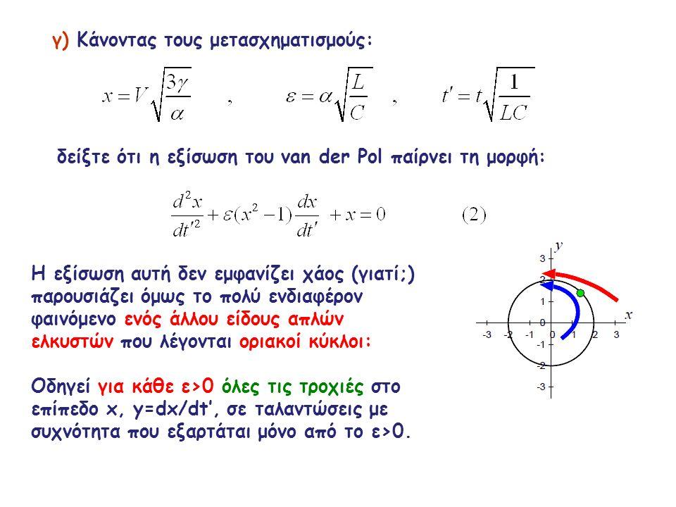 γ) Κάνοντας τους μετασχηματισμούς: δείξτε ότι η εξίσωση του van der Pol παίρνει τη μορφή: Η εξίσωση αυτή δεν εμφανίζει χάος (γιατί;) παρουσιάζει όμως