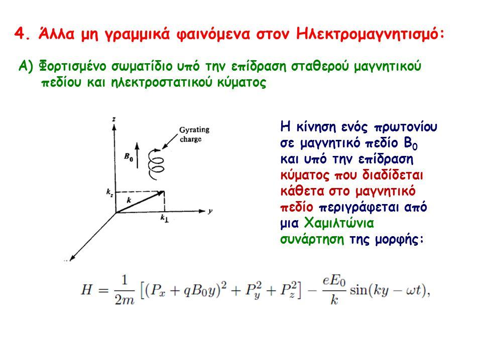 Α) Φορτισμένο σωματίδιο υπό την επίδραση σταθερού μαγνητικού πεδίου και ηλεκτροστατικού κύματος 4. Άλλα μη γραμμικά φαινόμενα στον Ηλεκτρομαγνητισμό: