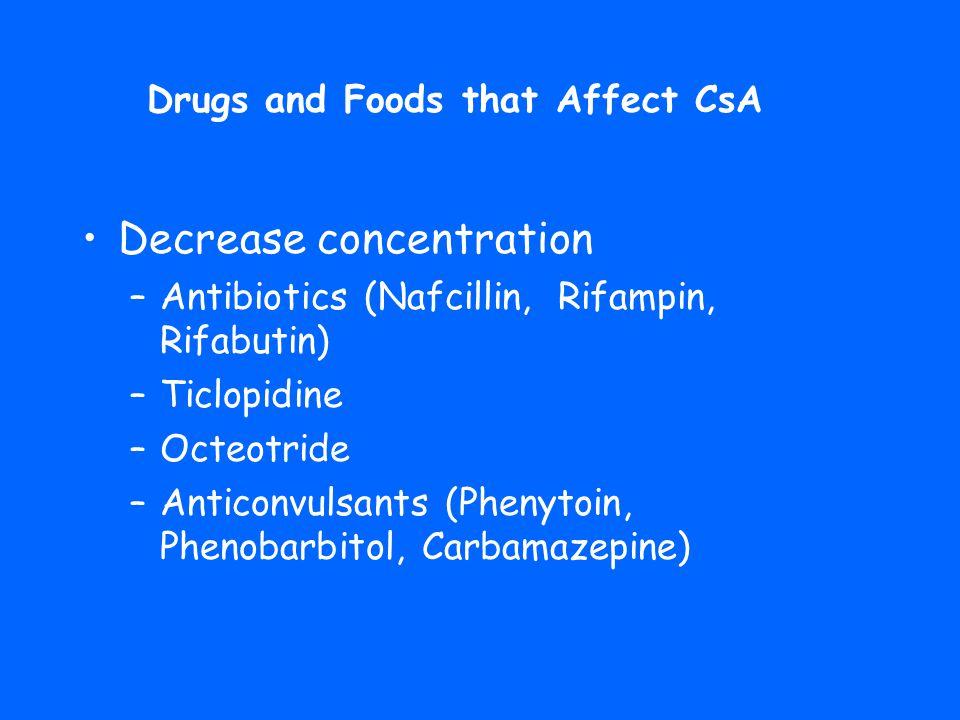 •Decrease concentration –Antibiotics (Nafcillin, Rifampin, Rifabutin) –Ticlopidine –Octeotride –Anticonvulsants (Phenytoin, Phenobarbitol, Carbamazepi